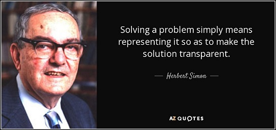 Solving a problem simply means representing it so as to make the solution transparent.