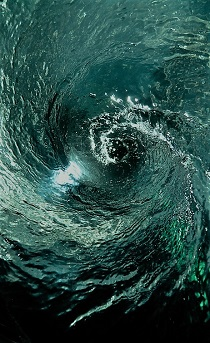 Illuminated Blue and Green Water Vortex