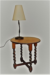 Lamp on table.