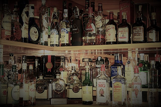 Bottles of booze at a bar